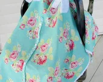 Lola Roses Blue Infant Carseat Canopy with Ties, Snap Opening Option, Unlined OR Light Turquoise Blue Chiffon Roses/Cotton Lining Option