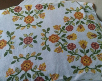 1970s vintage terry cloth tablecloth with boho floral print