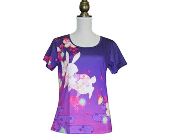 tshirt, floral,  T-shirt, Kawaii, Kimono, colorfull, flower, usagi, bunny, full graphic, vivid color