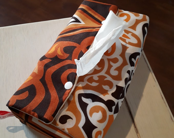Ethnic fabric rectangular tissue box. Oriental decorative object. Gift for him, brother, Dad, for men