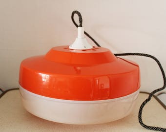 Hanging lamp from the 70s, Vintage Orange Plastic Lamp
