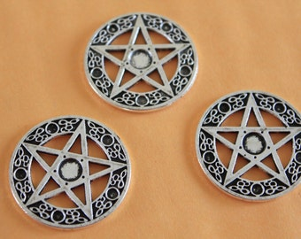 Star pentacle pentagram charms antique silver tone 24mm