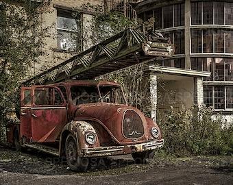 urban exploration, photography, Belgium, Magirius Deutz, Urbex, art print, abandoned place, Oldtimer, German car, fire engine, fire truck