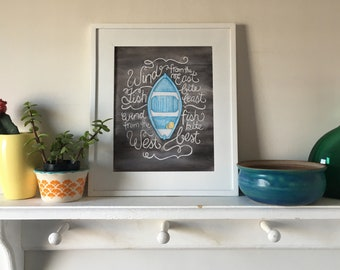 Little Blue Dory / 8x10 Print / FREE SHIPPING