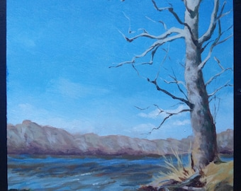 Original Landscape Painting - Beech Tree on River