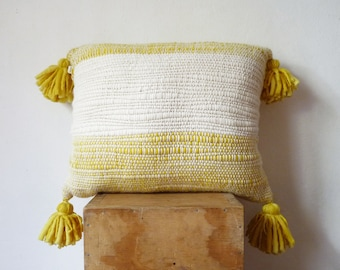 Moroccan Style Pillow with Tassels, Yellow stripes handwoven wool texture, Tribal / Boho / Modern design
