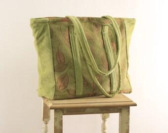 Springtime Green Chenille Carpet Bag