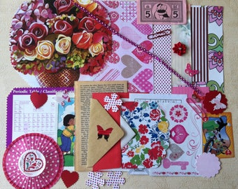 Cute Valentine's Junk Journal Kit/ Scrapbooking Kit/Valentine's Planner Kit/Embellishment/ DIY Kit, Over 30 pieces.