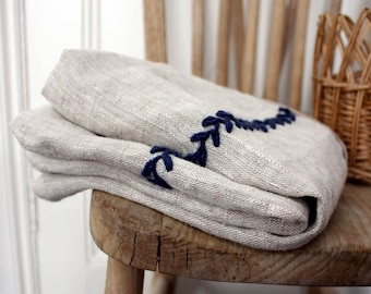 Hand embroidered linen Decorative Pillow. Grey and Blue. 18'' (45cm).