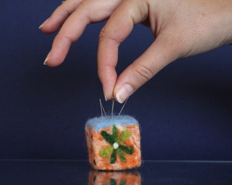 Needle Felted Pincushion with floral design, sewing, needles, wool art, waldorf pincushion, handmade decor, ooak pincushion, flowers, cube