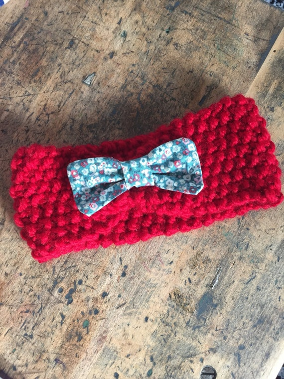 Red wool, cotton floral bow headband