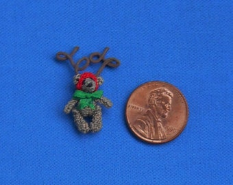 Tiny Crochet Teddy Bear in Reindeer Antlers. Micro Amigurumi. Artist Bear. Miniture Christmas Teddy Bear