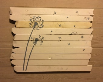 Wooden dandelion art