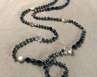 Blue Pearl and Smokey Quartz Lariat Necklace