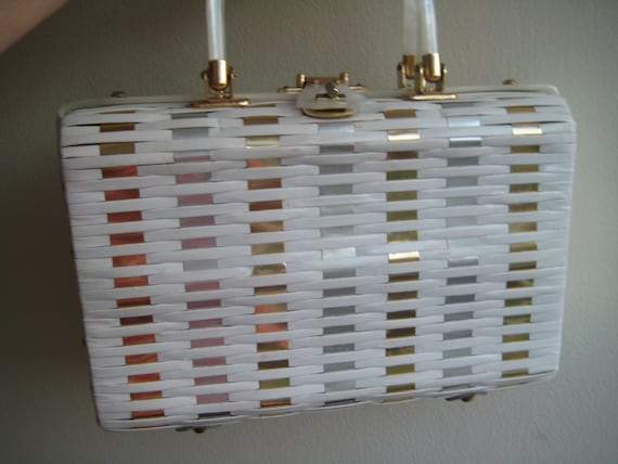Pretty Foil Weave Wicker Bag
