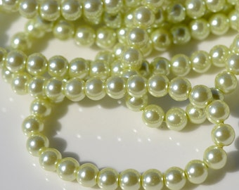 Celery Green 6mm Glass Round Pearl Beads  FULL STRAND