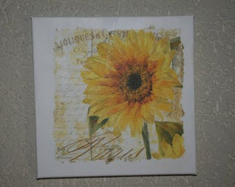 "small painting, square, ""Sunflower"" theme"