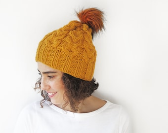 Mustard Hand Knitted Hat with PomPom
