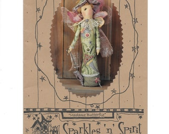 """Cloth Doll Pattern, Madame Butterfly by Sparkles 'n' Spirits, Primitives, Soft Doll Pattern, Cloth Doll, 15"""" Tall, Doll Making, Uncut, New"""