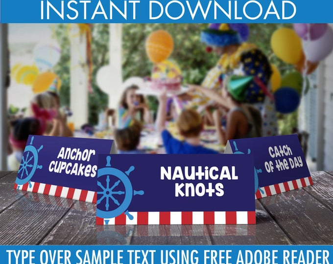 Nautical Food Label - Nautical Party, 1st Birthday, Sailor Party, Nautical Birthday, Table Tent  | DIY Instant Download PDF Printable