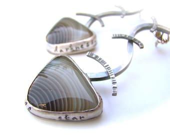 Sterling Silver Botswana Agate Secret Message Earrings