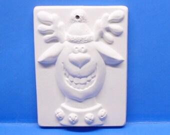 Funny Reindeer Ornament/DIY/Ready To Paint/Plaster/WhiteWare/ChalkWare/PlasterCraft #327