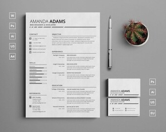 Single Page Clean Resume Template with Cover Letter and Matching Business Card | Instant Download |  Word, Photoshop, Illustrator