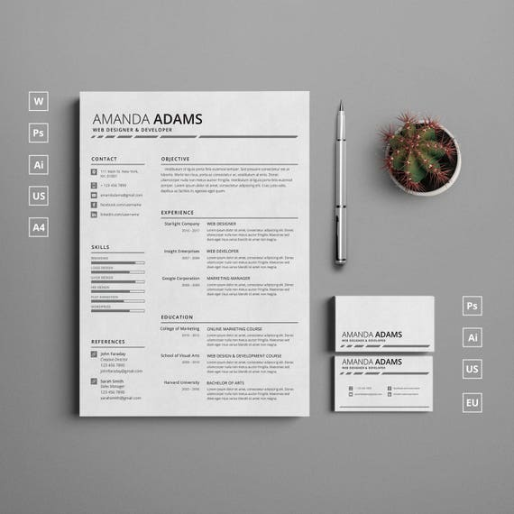 Single Page Clean Resume Template with Cover Letter and Matching