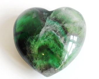 Multi Fluorite Unique 70g Crystal Heart Stone (Beautifully Gift Wrapped)