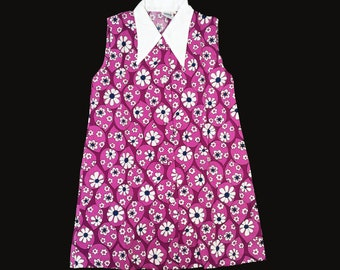 Vintage 60's Purple Floral Mod Dress New Old  Stock  5-6 and 6-8Y