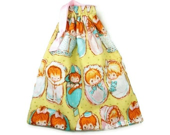 Baby Shower Gift Bag Drawstring Pouch Retro Babies Boy Girl Vintage Look Nursery Room Decor Fairy Kei Pouch
