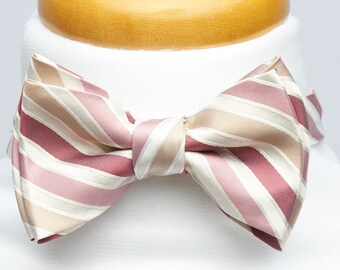 Pre-tied bowtie baby pink and white stripes, silk bow tie for men, adult, classic suit, wedding & groomsmen, graduation, vintage romantic
