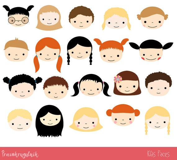 cute kid faces clipart set children clipart head kawaii boy and rh etsystudio com cute kids clipart saying hi cute kids clipart eating school lunch