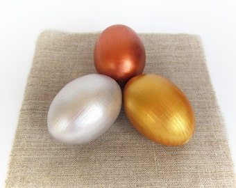 Easter gift - Gift for baby - Wooden EGGS - 3 Gold Silver Red gold Easter eggs - Pretend Play - Play Food - Waldorf - Montessori Toddler Toy