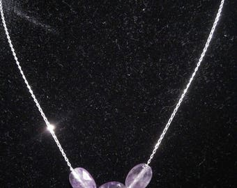 Necklace chain in silver and Amethyst purified and energisees