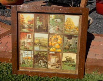 Attractive Vintage Homco Home Interior Interiors Window Pane Picture Rustic Fall  Scenes By B Mitchell