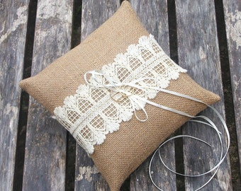 Rustic Ring Pillow, Bearer Cushion in Burlap/Hessian in Natural with Cream Vintage Lace