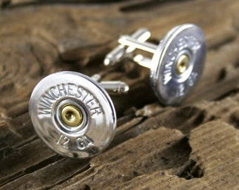 Shotgun Cufflinks, Winchester 12 Gauge Nickel Shotgun Cufflinks, Wedding Cufflinks, Real Shotgun Cufflinks, Groom Gifts, Groomsmen Gifts