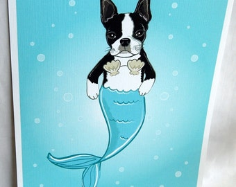 Mermaid Boston Terrier - Eco-Friendly 8x10 Print