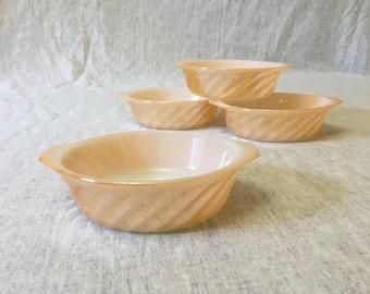Vintage Anchor Hocking Fire King Copper Tint Swirl Handled Individual Casserole Dish, Set of 4, Peach Lustre Casserole