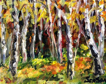 Birch Trees landscape Aspen Trees  original painting 6 x 8""