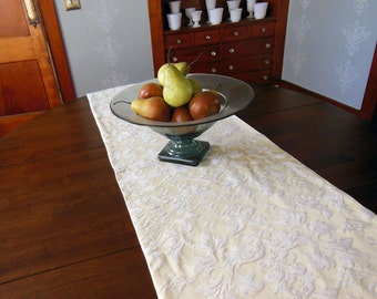 "Cream Chenille Jacquard Table Runner 18"" x 72"""