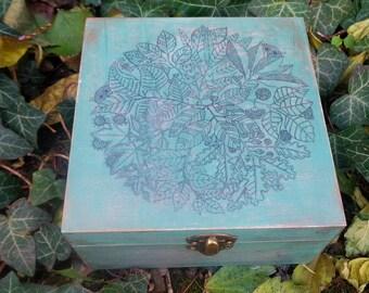 wooden  tea box/ wooden tea holder/ wooden tea storage - FOREST, 4 compartments