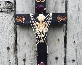 Bat skeleton crucifix taxidermy gothic decor wall art