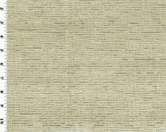 Designer Ivory Silver Streak Chenille Home Decorating Fabric, Fabric By The Yard