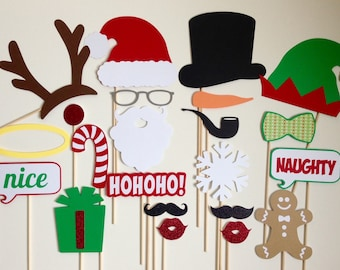 Christmas Photo Booth Props . Holiday Photo Booth Props . Santa Claus . Rudolph . Frosty . Angel . Elf . Glitter . Set of 22