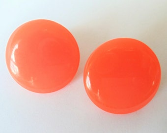 Vintage Moonglow Lucite Button Earrings, Mid-century Sunny Orange Moonglow Lucite Round Button Large Clip On Earrings,Gift For Her, 1960s'