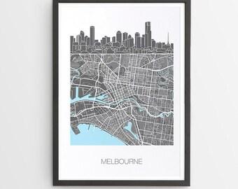 Melbourne City Skyline Map Print / Victoria / Skyline illustration / City Print / Australian Maps / Giclee / Unframed