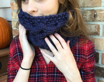 Cable Knit Cowl, Chunky Cowl, Shown in Navy