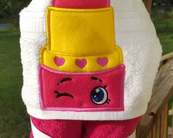 Shopkins Lippy Lips Hooded Towel with FREE Embroidered Name